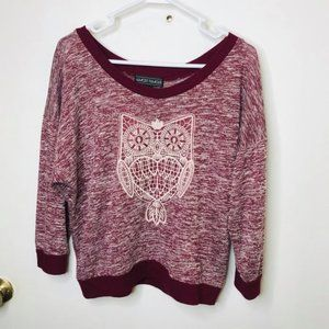 Almost Famous 3/4 Sleeve Owl Sweater